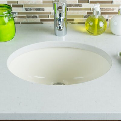 Hahn Ceramic Bowl Oval Undermount Bathroom Sink With Overflow