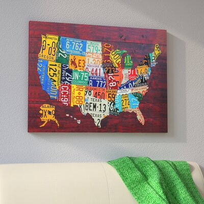 East Urban Home USA Recycled License Plate Map VII by Design