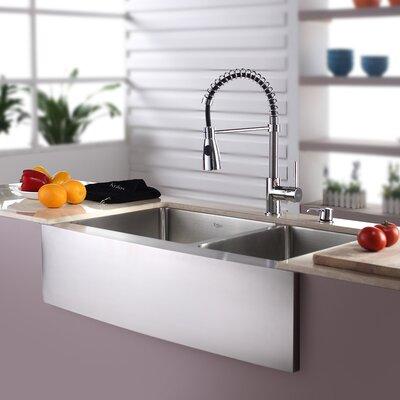Kraus Kitchen Combos 33 X 21 Double Basin Farmhouse Apron Kitchen Sink With Faucet Reviews Wayfair
