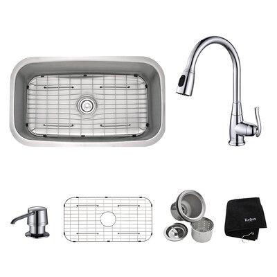 Kraus Kitchen Combos 31 5 X 18 38 Undermount Kitchen Sink With Faucet And Soap Dispenser Reviews Wayfair