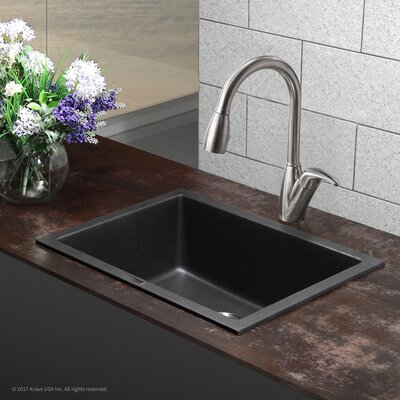 """Undermount Kitchen Single Sink kraus granite 24"""" x 18"""" undermount kitchen sink & reviews   wayfair"""
