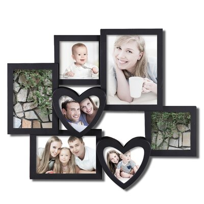 Zipcode Design 7 Opening Plastic Heart Shaped Photo Collage Wall