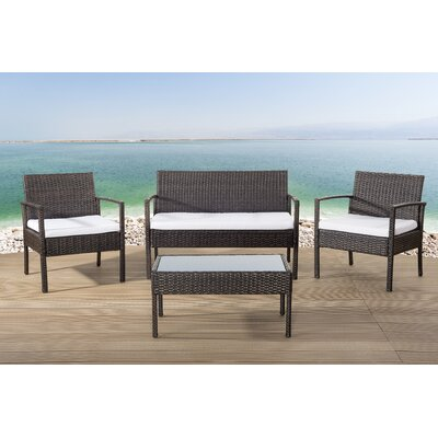 ebern designs adella wicker garden furniture 4 piece deep seating group with cushions reviews wayfair