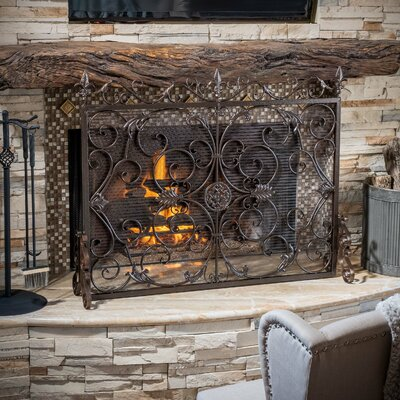 Home Loft Concepts Laurentia Panel Iron Fireplace Screen & Reviews ...