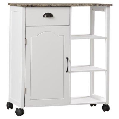 andover mills irma kitchen cart with marble top  reviews  wayfair, Kitchen design