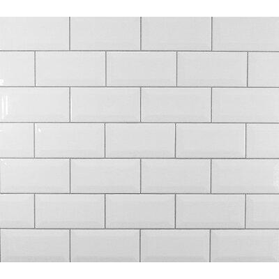 "Subway Tiles mulia tile classic 3"" x 6"" beveled ceramic subway tile in white"