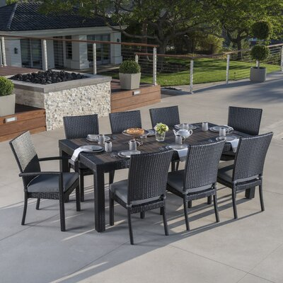 Beautiful Three Posts Evansville 9 Piece Outdoor Dining Set With Cushion U0026 Reviews |  Wayfair