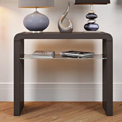 Modern Black Console Table Hallway Furniture Living Room Glass Shelf Storage