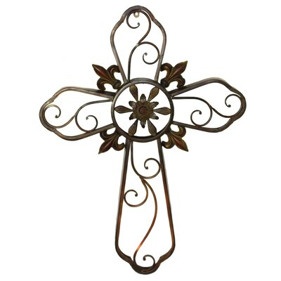 ec world imports hanging wall cross fleur-de-lis metal sculpture