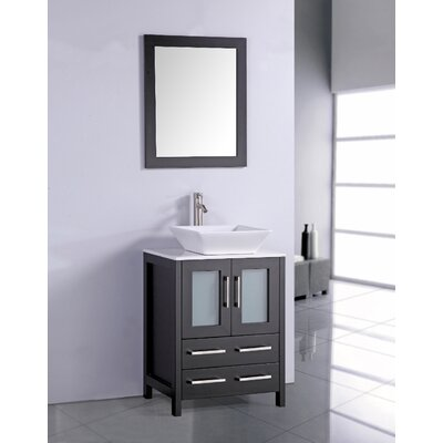 "24 Mirrored Bathroom Vanity ivy bronx leyla 24"" single bathroom vanity set with mirror"