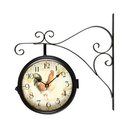 round rooster doublesided iron wall clock u0026 reviews wayfair
