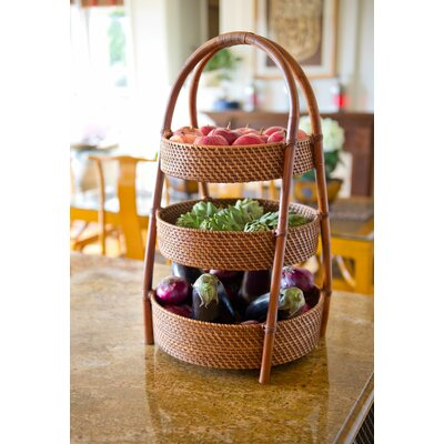 Great Kouboo Rattan 3 Tier Countertop Basket Stand U0026 Reviews | Wayfair