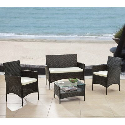 Elegant 4 Piece Patio Deep Seating Group with Cushions by Madison Home USA