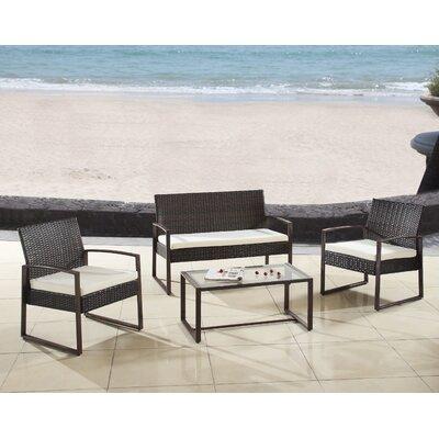 Madison Home USA Modern Outdoor Patio 4 Piece Seating Group With Cushion U0026  Reviews | Wayfair