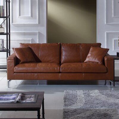 orren ellis nyyear mid century modern plush top grain leather sofa u0026 reviews wayfair