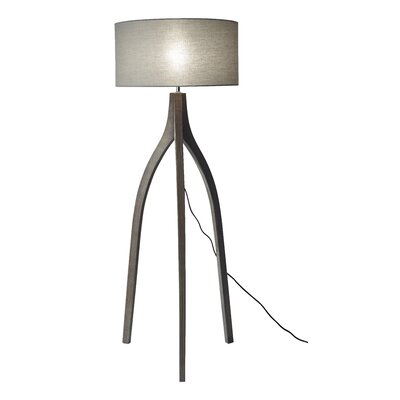 adesso espresso floor lamp walnut shade tripod uk