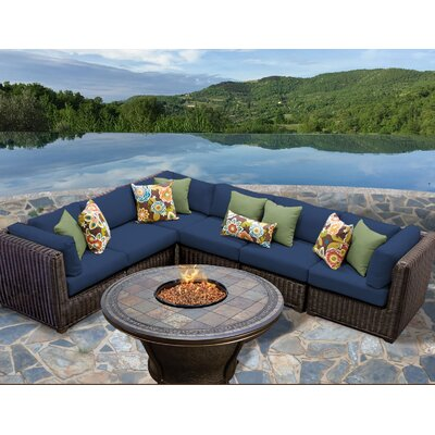 Latest Design Venice Outdoor Wicker Patio 7 Piece Deep Seating Group with Cushion by TK Classics