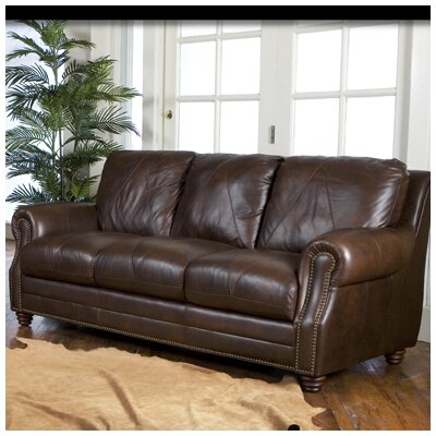 . Darby Home Co Gardner Leather Sofa   Reviews   Wayfair