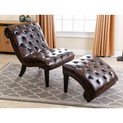 Darby Home Co Delbert Leather Chaise Lounge and Ottoman u0026 Reviews | Wayfair  sc 1 st  Wayfair.com : leather chaise lounges - Sectionals, Sofas & Couches