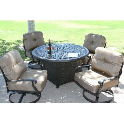 Kristy Cast Aluminum Powder Coated 5 Piece Deep Seating Group With Cushion