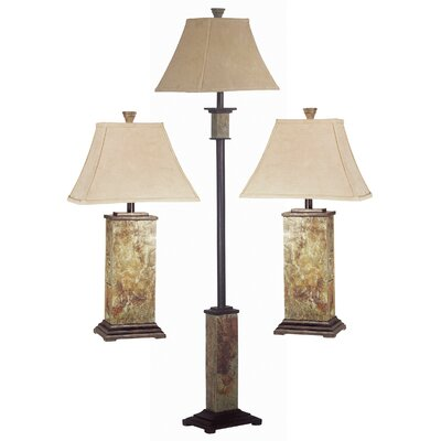 Alcott Hill Gallipolis 3 Piece Table and Floor Lamp Set & Reviews ...
