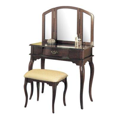 charlton home livingston 3piece vanity set with trifold mirror u0026 reviews wayfair