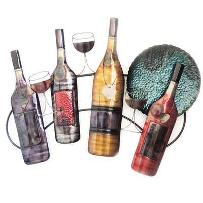 Wine Bottle Wall Decor charlton home wine bottles and glasses wall decor & reviews | wayfair