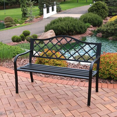 Delightful Charlton Home Stripling Outdoor Lattice Patio Cast Iron Garden Bench U0026  Reviews | Wayfair