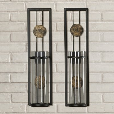 Metal Wall Sconces brayden studio contemporary wall sconce candle holder & reviews