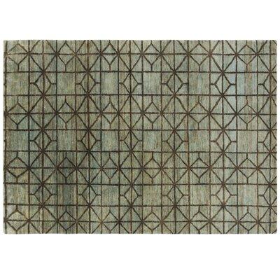 Gan Rugs gan rugs waterkeyn hand-knotted aqua area rug   wayfair