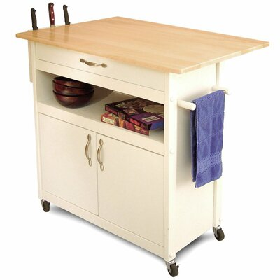 August Grove Allie Kitchen Cart With Wood & Reviews | Wayfair
