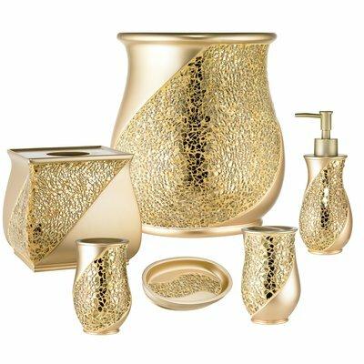 Bathroom Accessories Sets willa arlo interiors rivet champagne 6 piece bathroom accessory