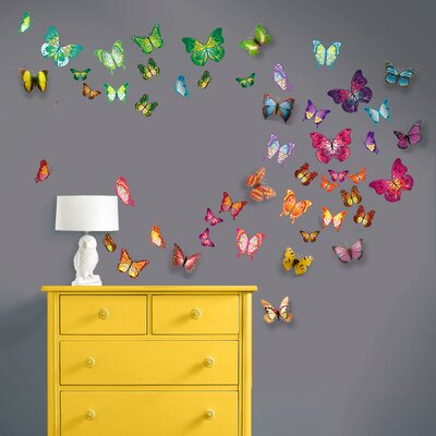 Walplus 3D Colourful Butterfly Wall Sticker U0026 Reviews | Wayfair.co.uk