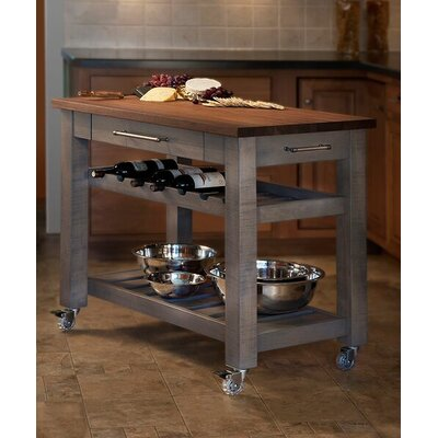 Martins Homewares Metro Mobile Kitchen Island With Solid Walnut