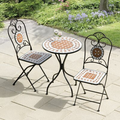 bungalow rose lowery diamond mosaic 3 piece bistro set reviews wayfair