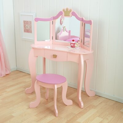 kidkraft princess vanity set with mirror & reviews | wayfair