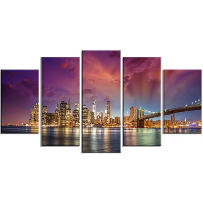 New York City Wall Art designart 'new york city manhattan skyline' 5 piece wall art on