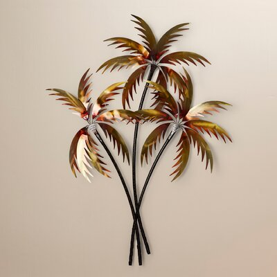Palm Tree Wall Decor bay isle home 3 copper palm trees wall décor & reviews | wayfair