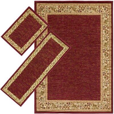 Threadbind Harlan Burgundy 3 Piece Indoor/Outdoor Area Rug Set U0026 Reviews |  Wayfair