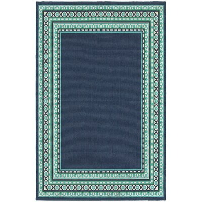 Threadbind Cortlandt Navy/Green Indoor/Outdoor Area Rug U0026 Reviews | Wayfair