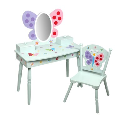 Delightful Levels Of Discovery Olive Butterfly Garden Kids Vanity Set With Mirror U0026  Reviews | Wayfair