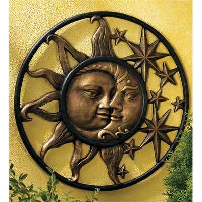 Sun And Moon Wall Decor wind & weather handcrafted aluminum sun and moon face sculpture