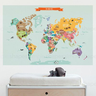SimpleShapes Countries of the World Map Poster Wall Decal