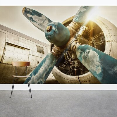 "Airplane Propeller Wall Decor wallums wall decor vintage airplane propeller 8' x 144"" 3 piece"