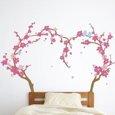 The Decal Guru Cherry Blossom Heart Tree Wall Decal | Wayfair
