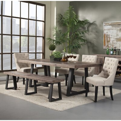 Laurel foundry modern farmhouse prairie 6 piece dining set for Farmhouse style dining set