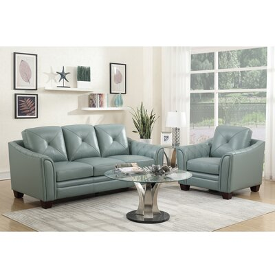 Red Barrel Studio Chiang Top Grain Leather Configurable Living Room Set U0026  Reviews | Wayfair