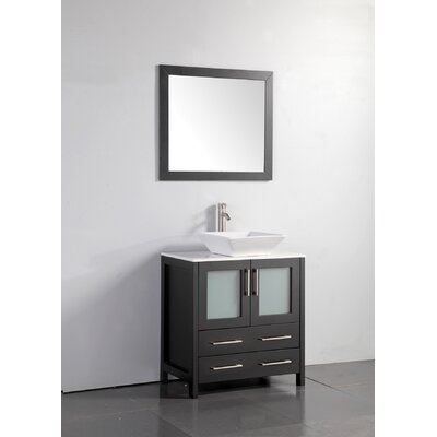 """30 In Bathroom Vanity orren ellis square holley 30"""" single bathroom vanity set with"""