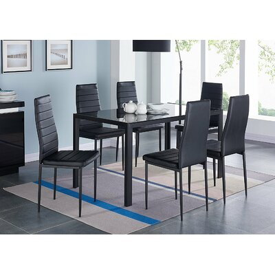 IDSOnlineCorp Modern Glass 7 Piece Dining Table Set   Reviews   Wayfair. IDSOnlineCorp Modern Glass 7 Piece Dining Table Set   Reviews