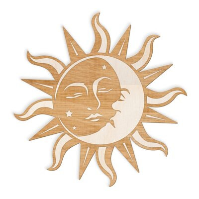 Sun And Moon Wall Decor woodums sun moon face engraved cut wood sign wall décor & reviews
